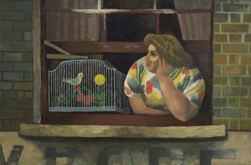 Woman with Birdcage in Window