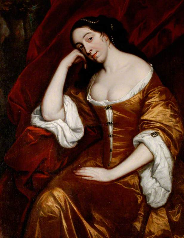 Portrait of a Lady, Three-Quarter Length, Seated, Wearing a Gold Dress with Red Robes