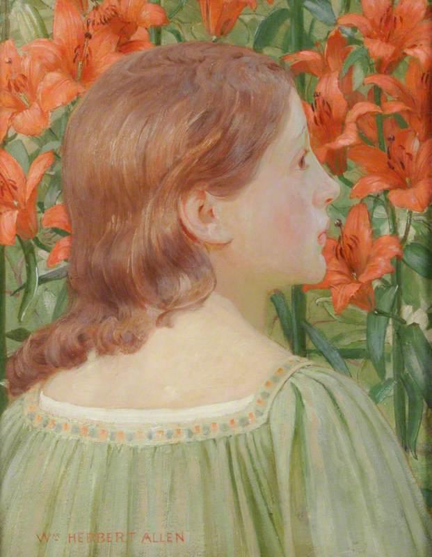 Portrait of a Girl amongst Lilies