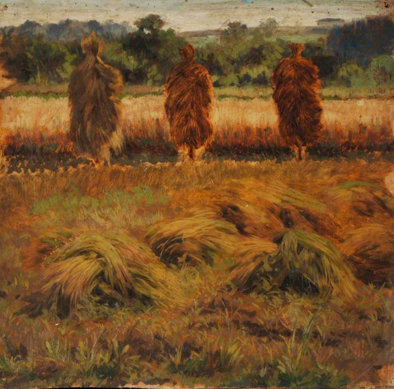 Hay Stooks in a Meadow
