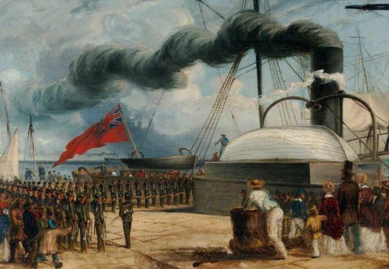 The Battalion Embarks at Dover on HM Steamship 'Magaera' on 2 January 1852