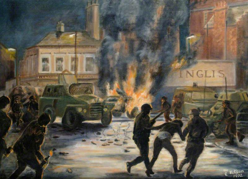The 1st Royal Green Jackets Fighting Rioters in Cromac Square, Belfast, Summer 1971