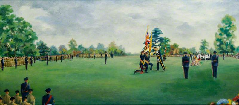 Ceremony of the Presentation of the Colours of the 4th/5th Battalion, the Hampshire Regiment, by Earl Mountbatten of Burma at Broadlands, Hampshire, June 1963