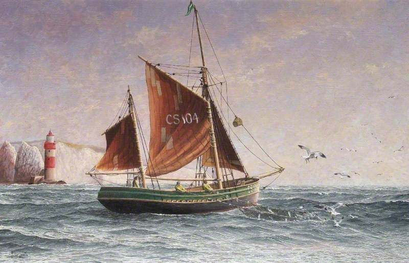 Thames Barge Fishing Off the Needles