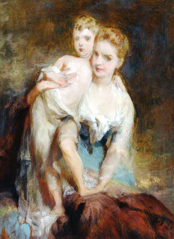 Woman and Semi-Nude Child