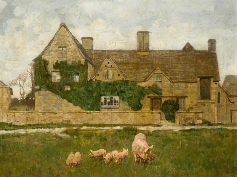 House with Pigs in the Foreground