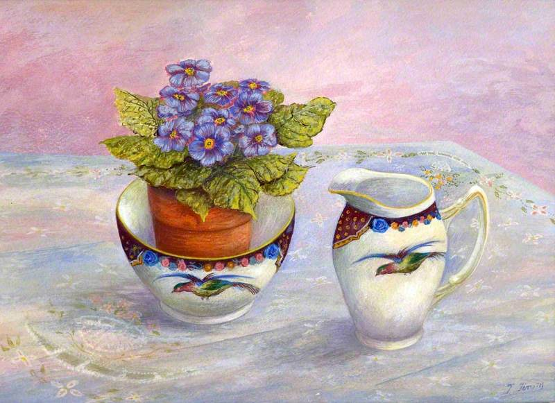 Bowl Containing a Potted Plant with Jug Both Having a Flying Bird Motif