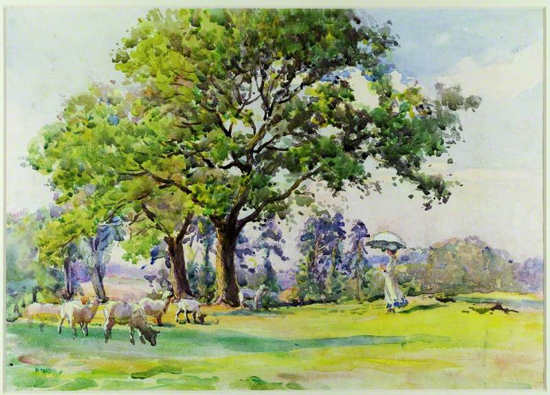 Trees with Sheep and Lady with Parasol