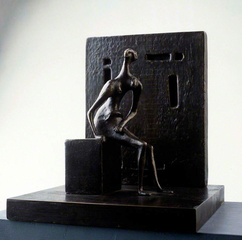 Maquette for Girl Seated against Square Wall