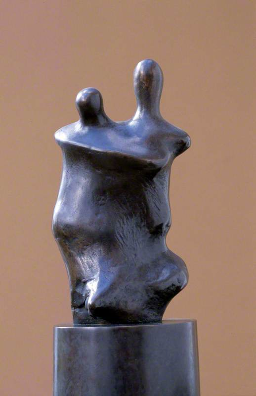 Three-Quarter Mother and Child on Round Base