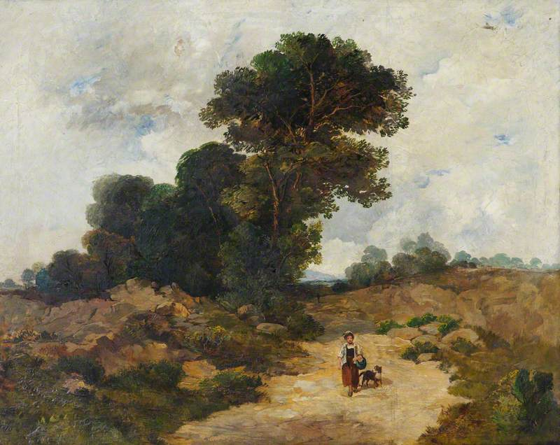 Landscape with Figure of a Woman and a Dog