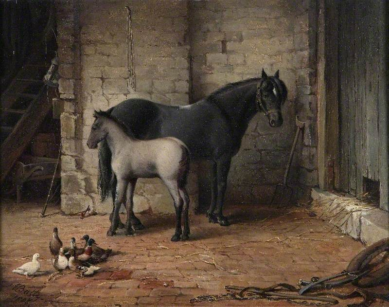Mare and Foal with Ducks