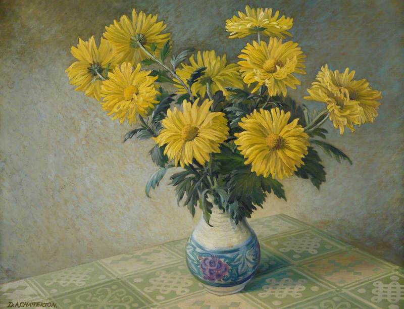 Vase with Yellow Chrysanthemums