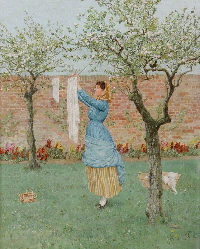 Maid in a Garden Hanging Out Clothes