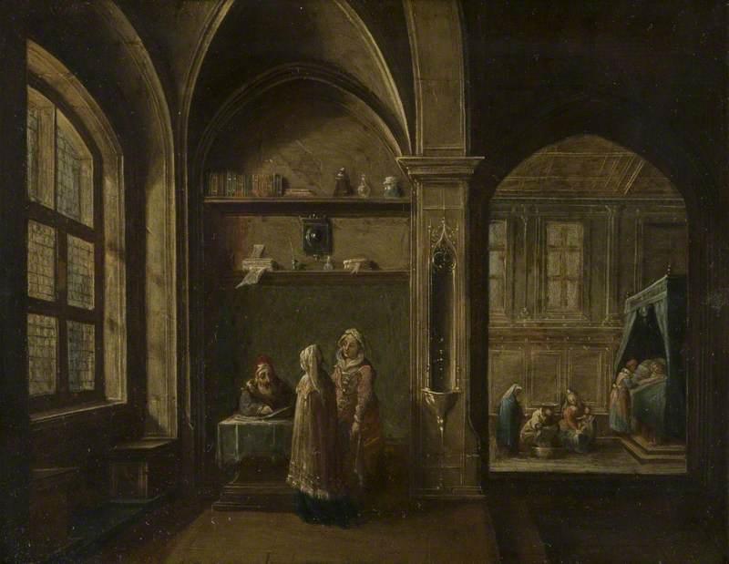 A Renaissance Interior with Figures: Birth of Saint John