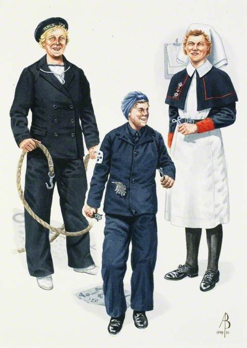 Women's Royal Naval Service and Queen Alexandra's Royal Naval Nursing Service: Women's Royal Naval Service Boats' Crew, Home Waters, 1943; Women's Royal Naval Service Motor Mechanic, Home Waters, 1943; Nursing Sister, Queen Alexandra's Royal Naval Nursing Service Reserve, 1942
