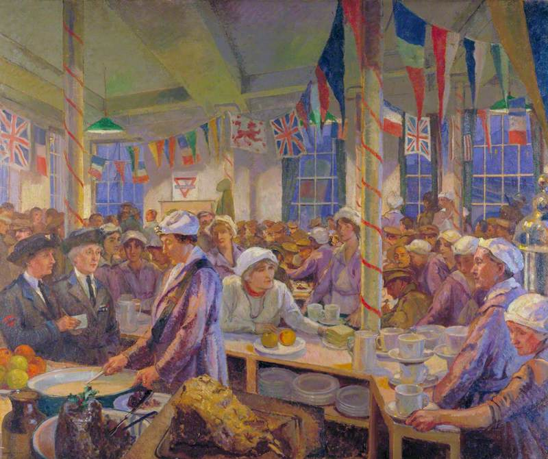 Christmas Day in the London Bridge Young Men's Christian Association Canteen: Her Royal Highness Princess Helena Victoria, Mrs Norrie and Miss Ellen Terry