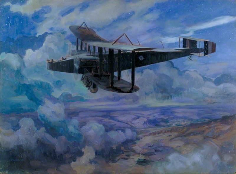 A Handley Page Aeroplane Bombing Nabulus by Night