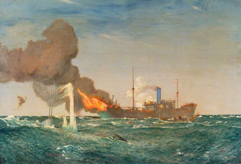 HMS 'Dunraven VC' in Action against the Submarine That Sank Her, 8 August 1917