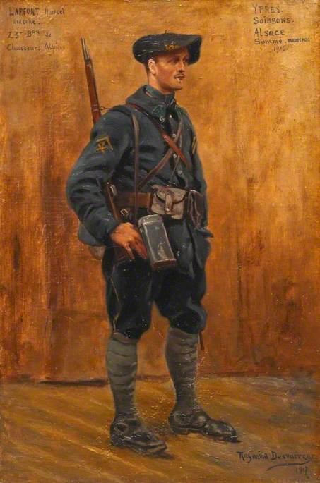 Marcel Laffont, Ardèche, Chasseurs Alpins: Ypres, Soissons, Alsace, Somme, Maureras, 1916