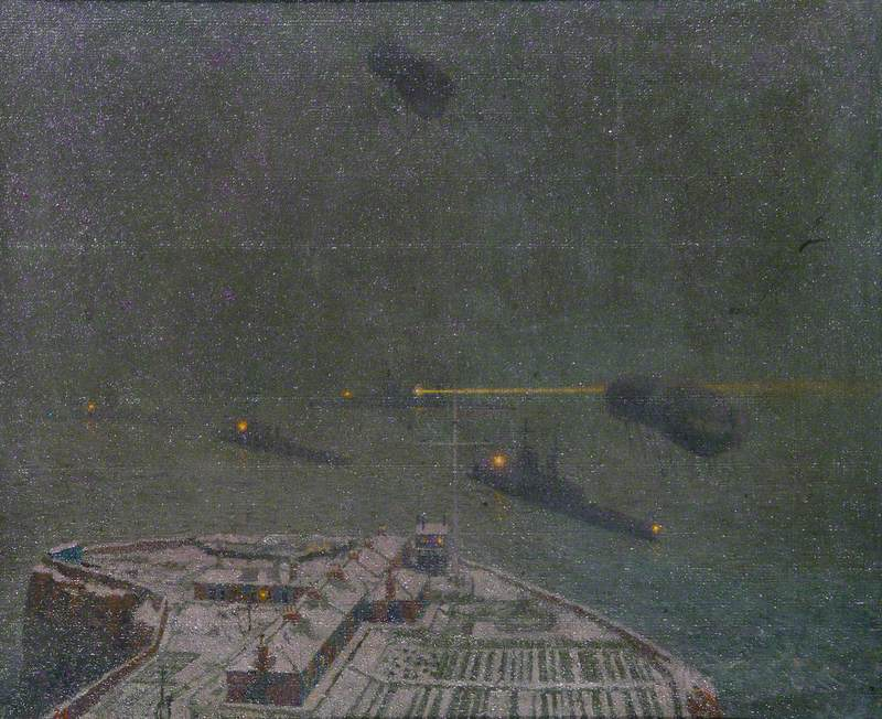 North Queensferry Signal Station, Winter: The First Battle Cruiser Squadron Seen from the Forth Bridge