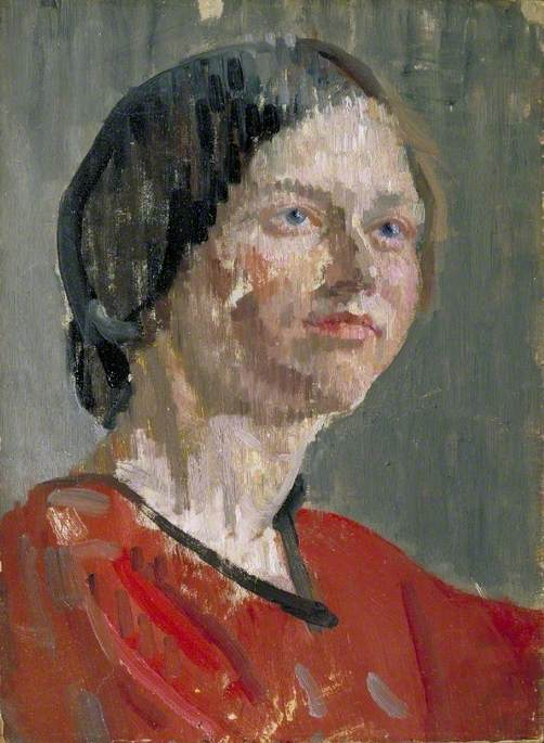Head of a Woman, 'Grey and Red'