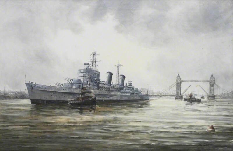 HMS 'Belfast' Arriving in the Pool of London