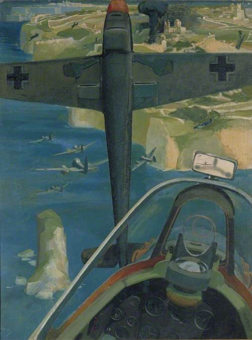 Battle over Malta: Spitfire Attacking JU 88s but in a Dog-Fight with ME 109s
