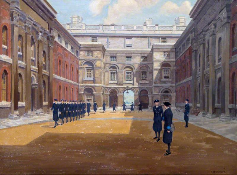 Women's Royal Naval Service Ratings Drill and Inspection in the Courtyard of Queen Anne's House, Greenwich
