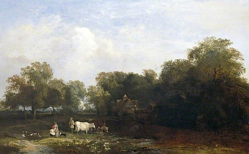 Wooded Landscape with Figures, and a Church in the Distance