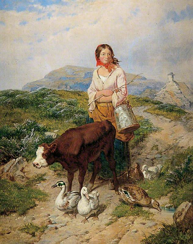 Country Maid Driving Calf and Ducks