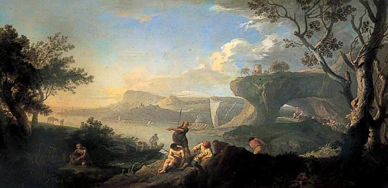 Classical Landscape, Coastal Scene with Fishermen
