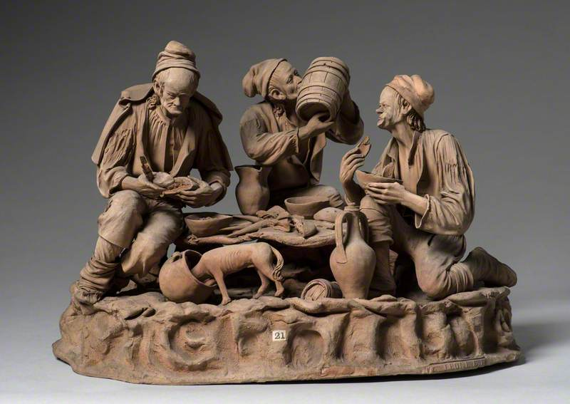 Three Sicilian Peasant Men Eating, with a Dog