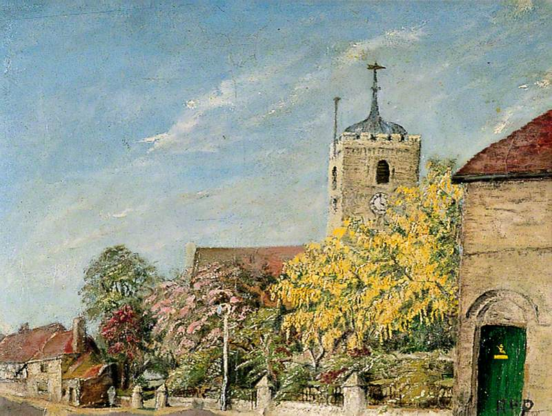 St Peter's Church, Sandwich, Kent, with Laburnum Tree