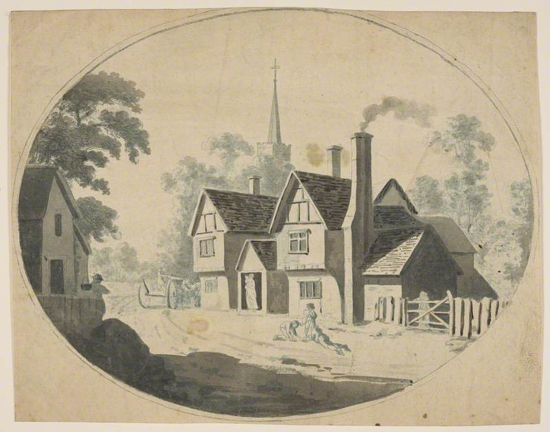 Study – Country Road, House and Figures