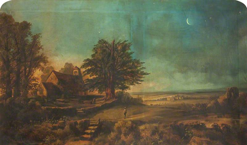 Landscape, with Crescent Moon, Church and Graveyard