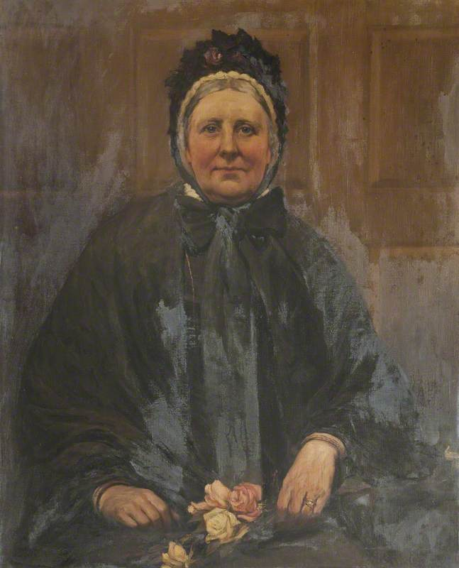 Portrait of a Woman Holding Roses