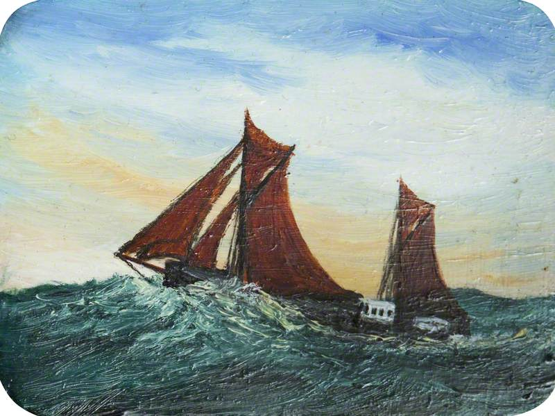 Ship with Red Sails by Black Rocks