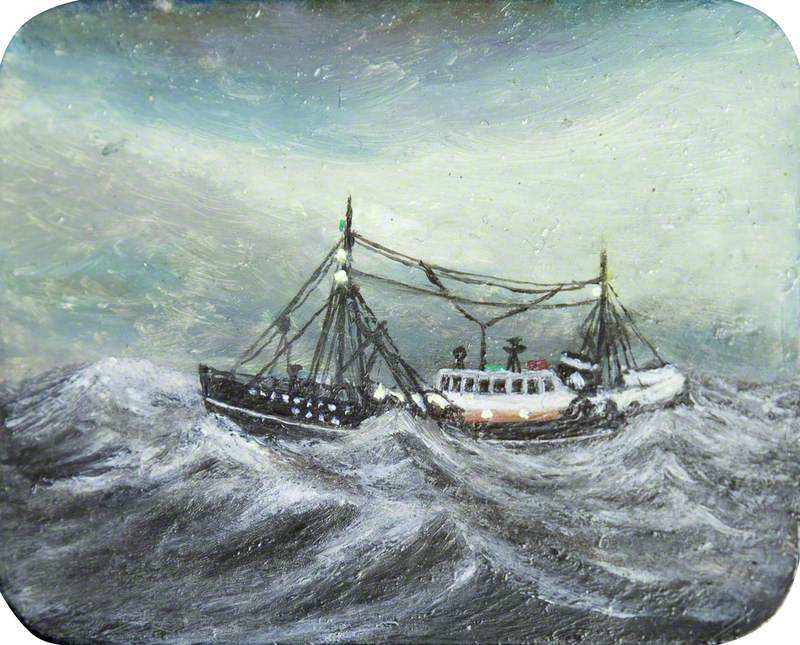 Trawler on Rough Grey Sea