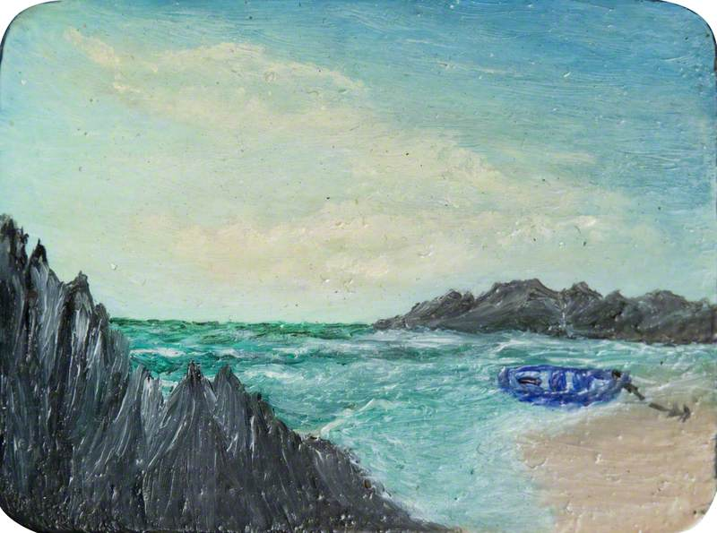 Beach with Blue Boat and Rocks