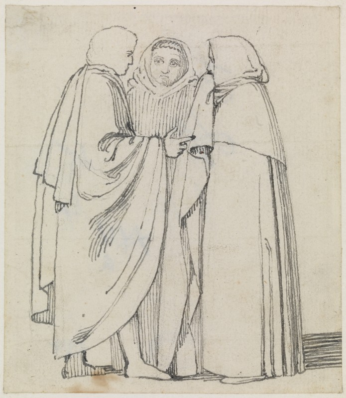 A Group of Three Cloaked Figures