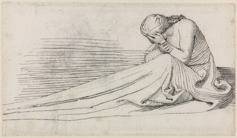 A Seated Female Figure: In Long Drapery, Mourning