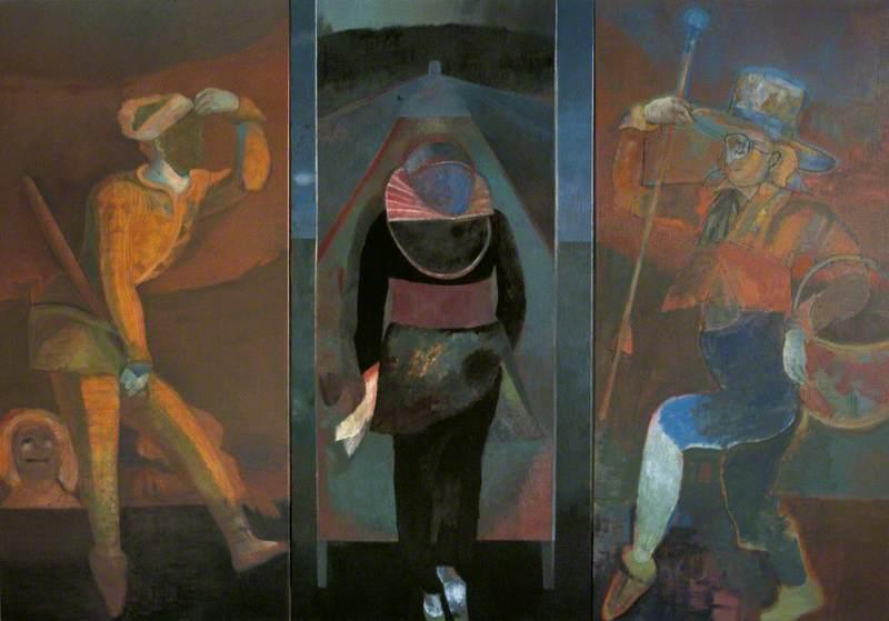 Triptych I: Harlequin, une parade (left panel); Crispin, Diary of an Insurgent (centre panel); Ce qui joue le rôle d'un fou (right panel)