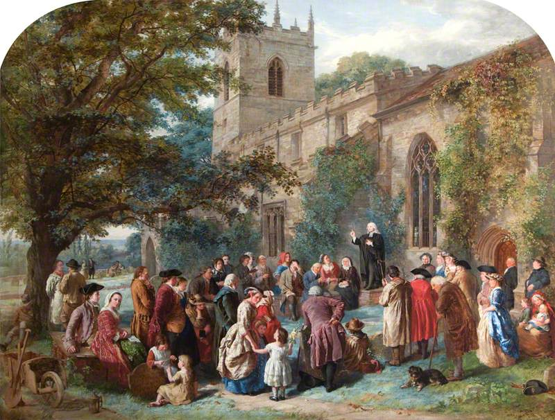 John Wesley Preaching from His Father's Tomb at Epworth