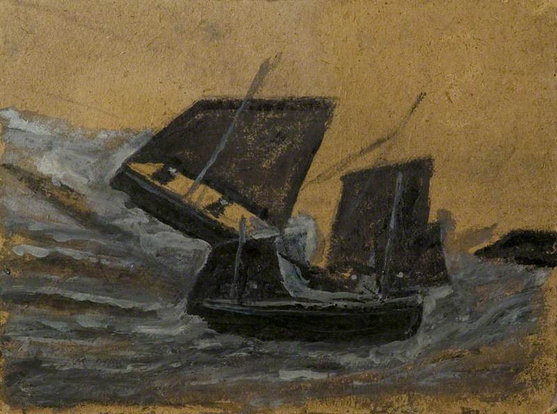 Two Black Boats Sailing up Dark Grey Waves