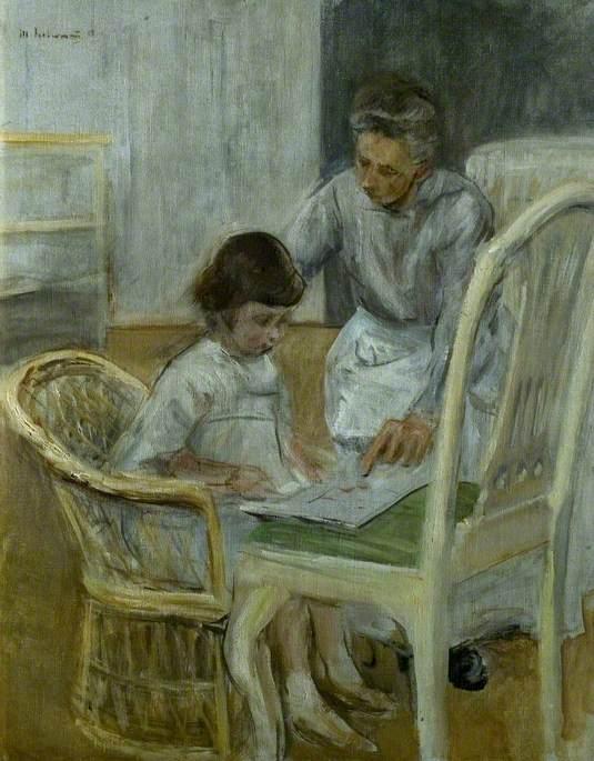Die Enkelin des Künstlers mit ihrem Kindermädchen