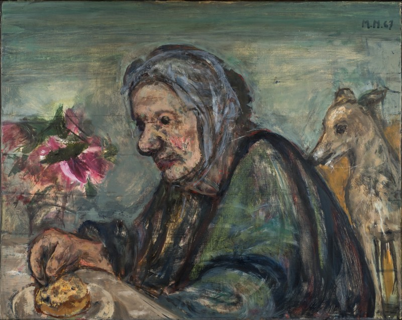 Henriette von Motesiczky with Dog and Flowers