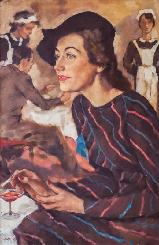 Frau Im Café (Woman in a Café: Lotte Fischler)