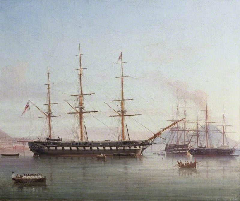 British Man-of-War 'Hong Kong' in the Bay of Naples, Italy