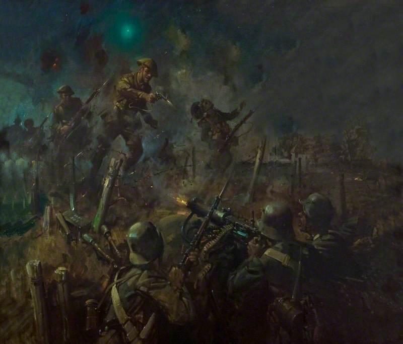 Lieutenant John Cridlan Barrett, VC, 1/5th Battalion, Leicestershire Regiment during the Attack on Machine Guns in Forgan's Trench, 24 September 1918